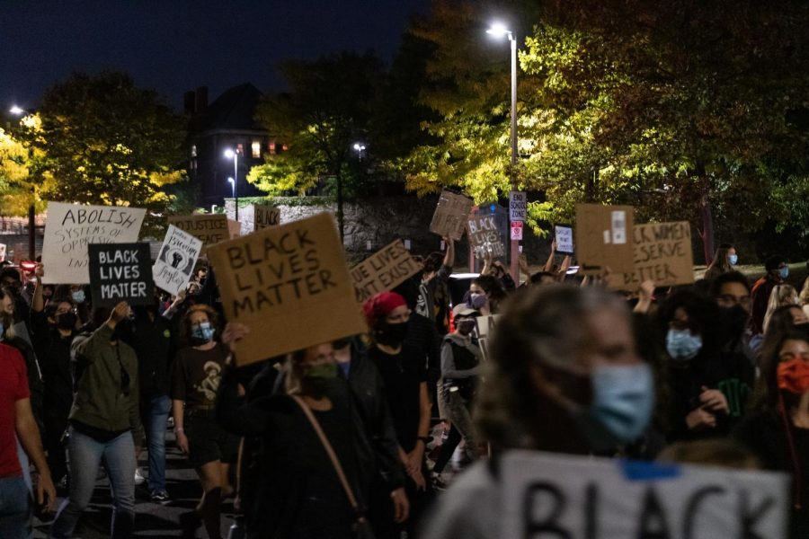 The peaceful protests carried well into the night.