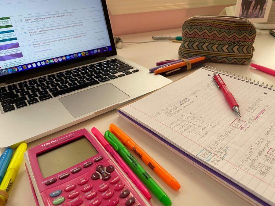 First-year biology and mathematics major Sachi Kulkarni's remote learning setup in Texas.
