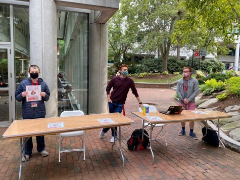 Northeastern Votes tables outside of Curry Student Center.