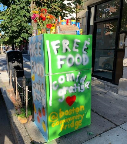 The community fridge in Jamaica Plain sits outside D