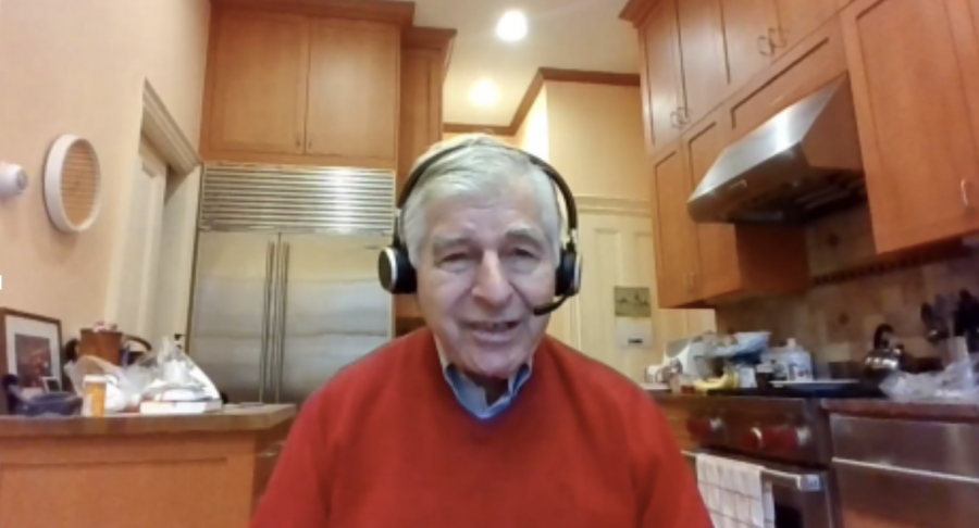Former Massachusetts Governor Michael Dukakis speaking over Zoom during the virtual event on Thursday.
