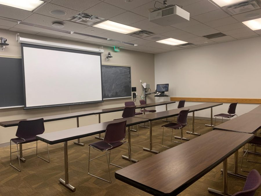 This semester, lots of normally packed classrooms have largely remained empty due to COVID-19 related safety precautions.