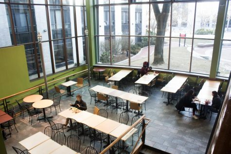 Students eat in one of Northeastern