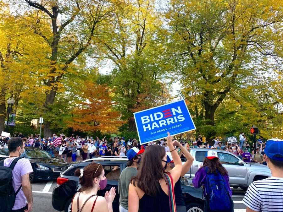 Hundreds of celebrators came together across the city to celebrate the victory of President-elect Joe Biden and Vice President-elect Kamala Harris in the 2020 election.