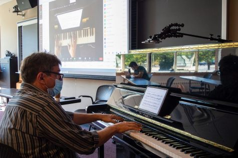 "Art and music schools on Huntington Avenue, also known as the ""Avenue of the Arts,"" have had to adapt to changes brought on by the COVID-19 pandemic. This image features Professor Anthony De Ritis, who teaches his Music Fundamentals 1 course online via NUflex."