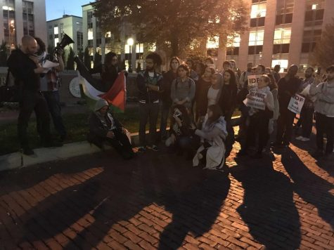 In 2017, students, Bostonians and a former Israeli soldier joined SJP members to protest Israeli Defense Force soldiers visiting Northeastern.