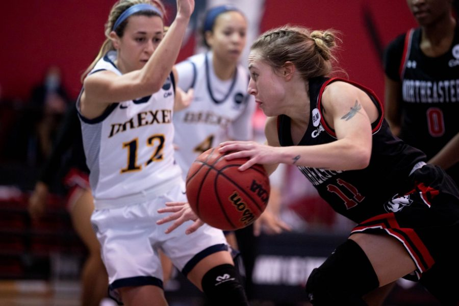 NU, unable to beat the heat, falls to Drexel in their first game of the weekend.