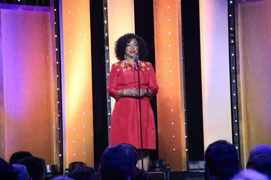 Shonda Rhimes by Peabody Awards is licensed under CC BY 2.0  Shonda Rhimes is the creator of Bridgerton along with other popular shows like Greys Anatomy and How to Get Away with Murder.