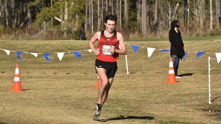 Northeastern cross country men's team take first place in CAA meet preview and season opener