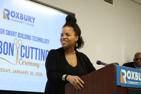 Janey speaking at the opening of the Center for Smart Building Technology at Roxbury Community College in February, 2020.
