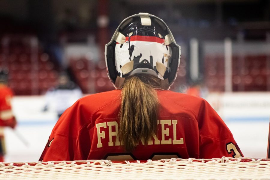 Senior netminder Aerin Frankel notched 32 saves and shut out the visiting Friars in the Huskies' 4-0 victory.