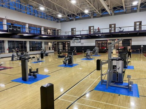 Exercise equipment in Marino is placed six feet apart in order to maintain safety protocols.