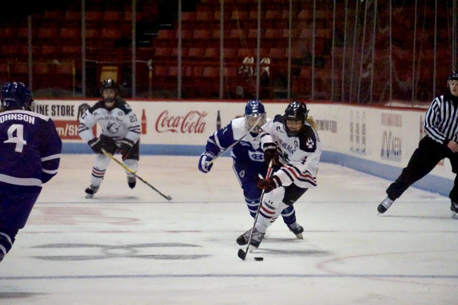 The Huskies completely outskated Holy Cross, handedly winning 12-0.