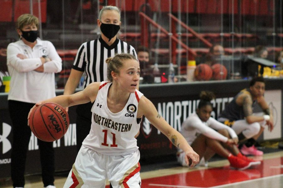 Stella Clark finished Senior Day with her 1000th point en route to a win over Towson.