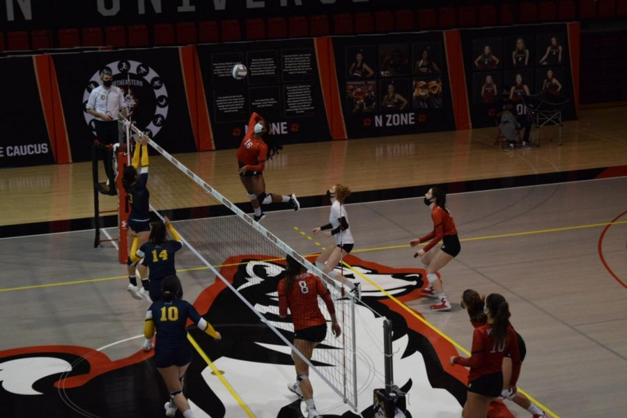 Northeastern womens volleyball dominated the court Thursday, winning three consecutive sets against Merrimack.