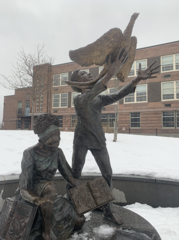 """The Value of a Life"" is a memorial by Fern Cunningham located at the edge of Jeep Jones Park that honors the youth of Boston."