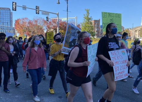 People demonstrate at the Climate Justice Strike Oct. 15, 2020.