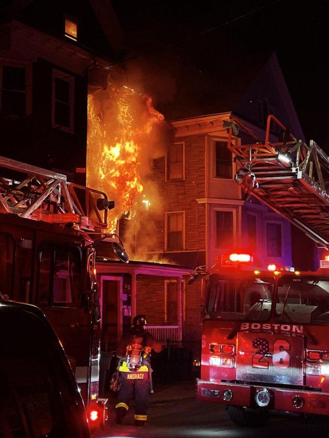 An apartment fire erupted at 59 Pontiac St.