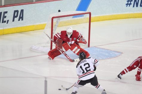 The Northeastern Huskies fell to the Wisconsin Badgers, 2-1 in overtime, during the final face off of the national championships.