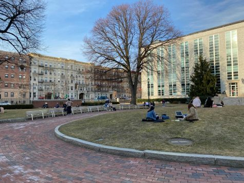 Students enjoy the nice weather as they relax on Krentzman Quad, March 11.