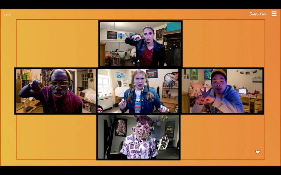 Actors rehearse via Zoom for Emersons original musical, This Golden Day, produced last fall.