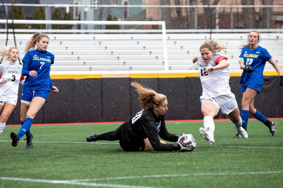 Northeastern women's soccer commanded the field Sunday afternoon as they won 2-0 against Delaware in their first conference match of the season.