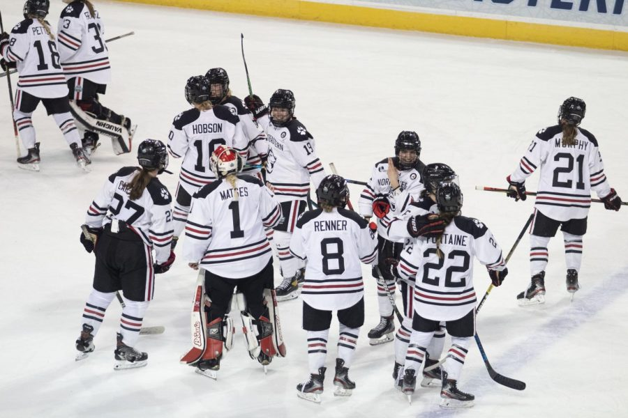 The No. 1 Northeastern women's hockey team will look to take home the national championship Saturday night against Wisconsin.