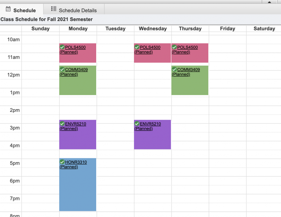 This is Leah's schedule plan.
