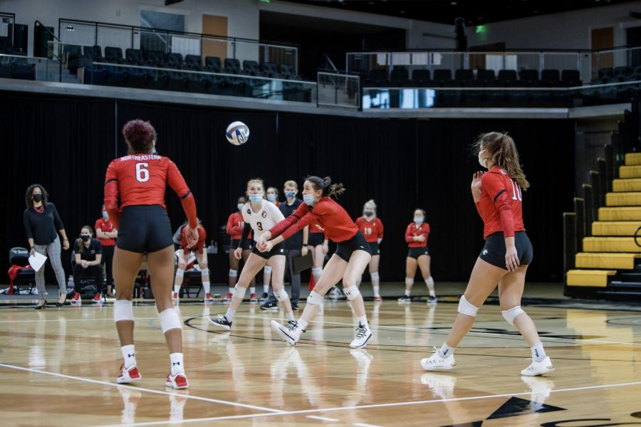 Northeastern+women%27s+volleyball+fall+to+Towson+in+the+final+CAA+tournament+game+despite+a+stunning+comeback+on+the+court.+