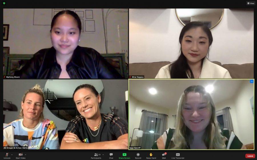 Ali Krieger, Ashlyn Harris and Mirai Nagasu answer questions in a virtual Q&A