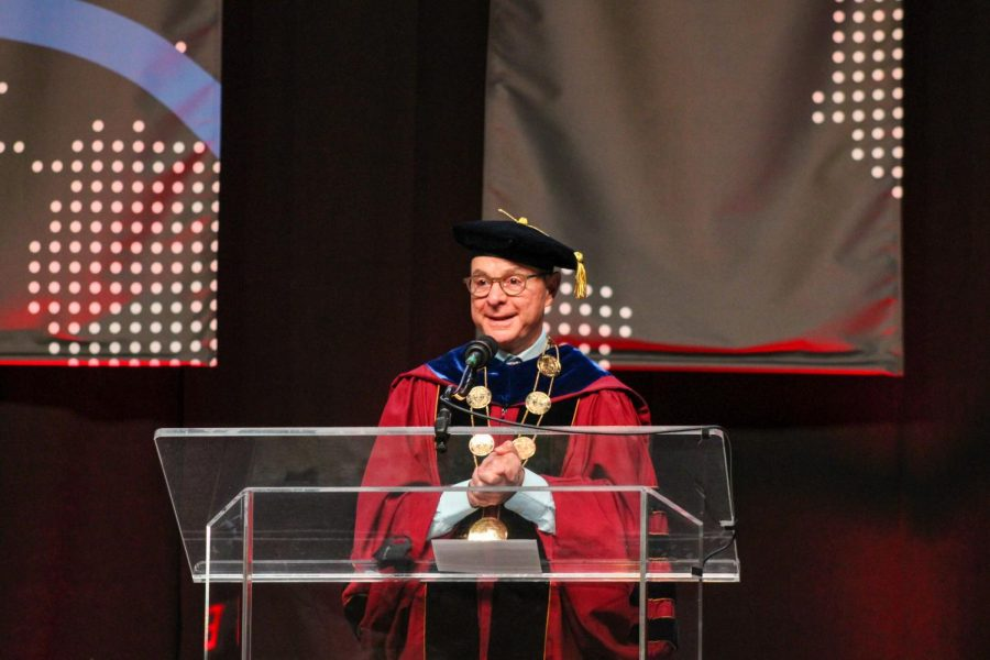 President Joseph E. Aoun addressed a crowd of first-year students at the annual Presidents Convocation Sept. 6. The ceremony  also featured speeches from all the academic deans and the president of Student Government Association.
