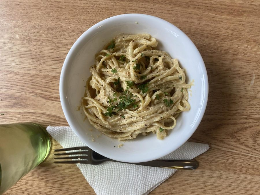 Brandi Doming's garlic alfredo pasta mimics a creamy and cheesy sauce made using ground cashews.