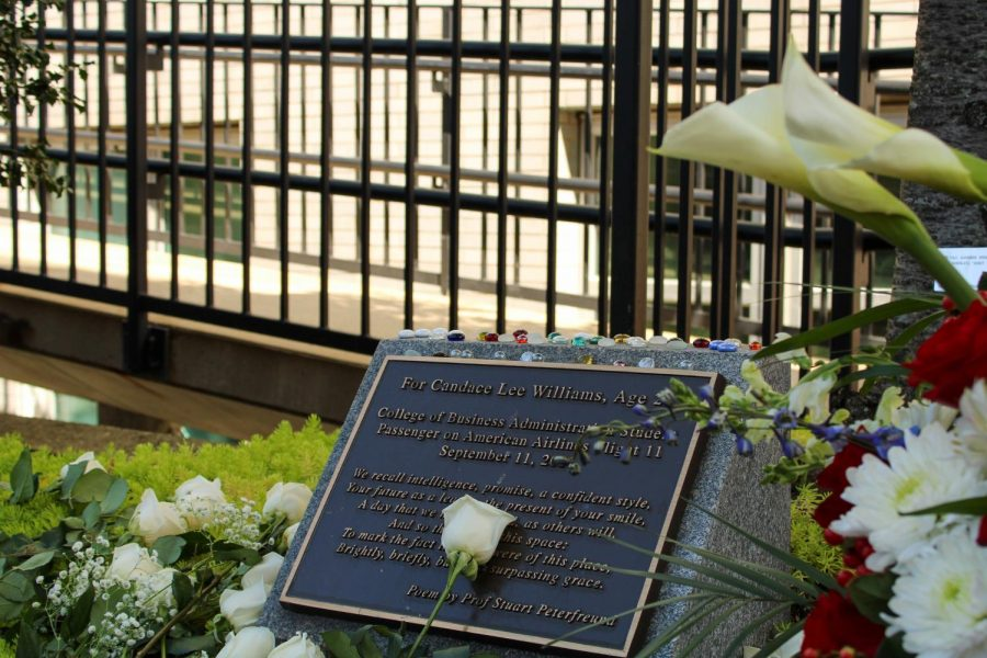 Candace Lee Williams was a 20-year-old Northeastern student in 2001 and was a passenger on American Airlines Flight 11 that departed from Boston Logan International Airport. The memorial is located between Ell Hall and the D'Amore McKim School of Business.