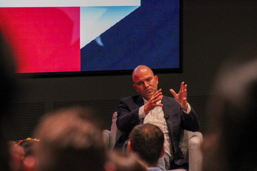 Ben Rhodes spoke to an auditorium full of Northeastern community members Sept. 20. Rhodes was former President Barack Obamas deputy national security adviser and is the co-host for the Pod Save the World podcast.