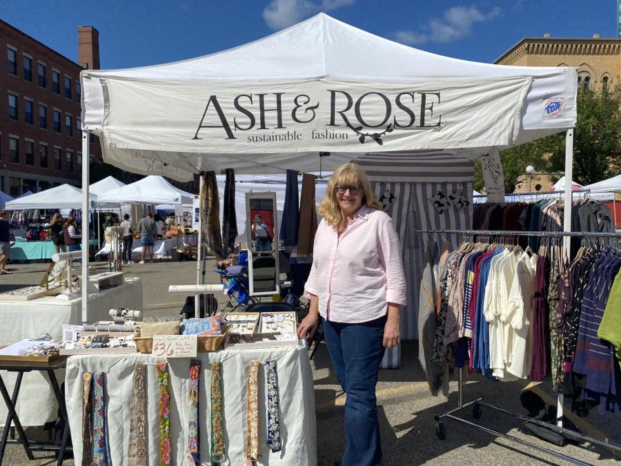 Nea Savoca at the Ash and Rose stand at SoWa Open Market.