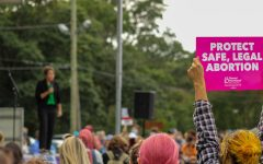 Rally attendees hoisted signs expressing their support for abortion access, an issue that will come before the Supreme Court in its current term.
